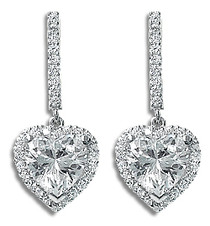 Seraphina Heart with Halo CZ Drop Earrings, 4.5 Ct TW