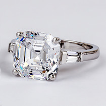 Asscher Cut CZ Baguette Engagement Solitaire Ring