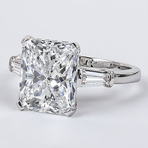 Starburst Emerald Cut CZ Baguette Solitaire Engagement Ring