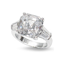 Asscher Cut CZ Double Baguette Solitaire Engagement Ring