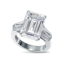 Emerald Classic Cut Double Baguette CZ Solitaire Engagement Ring