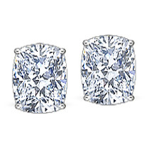Elongated Cushion Cut CZ Stud Earrings