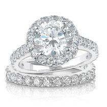 Brenina Round Cubic Zirconia Halo Solitaire Engagement Ring