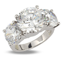 Martha Classic Three Stone Round CZ Ring