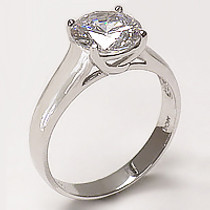 Carita Round with Cross Basket CZ Solitare Engagement Ring