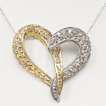 Melaney Two Tone Heart Pendant with Pave Rounds, 2.0 Cts T.W.
