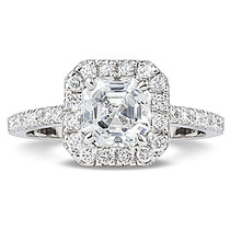 Keira Asscher Cut CZ Halo Solitaire Ring, 1.67 Carats T.W.