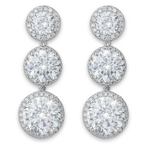Fantasia Cubic Zirconia Halo Round Drop Earrings, 27.8 Carats
