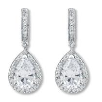 Anastasia Huggie Top Pear Drop Halo Earrings, 4.37 Ct T.W.