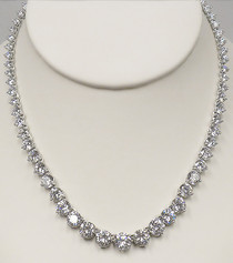 Graduated Round CZ Tennis Necklace, 50.5 Ct TW