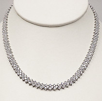 Tallulah Three Row Rounds Cubic Zirconia Collar Necklace
