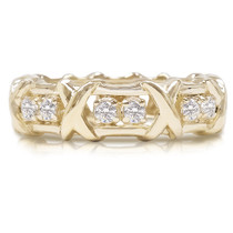 "Kisses Cubic Zirconia Rounds Eternity Band with ""X"" Design"