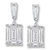 Bijou Emerald Cut with Baguette CZ Drop Earrings, 5.35 Ct TW