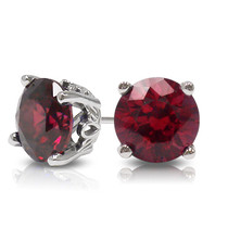 Round Red Ruby Stud Earrings with Scroll Setting
