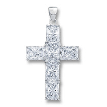 Epiphany CZ Starbust Emerald Cut Cross Pendant, 6.0 Ct TW