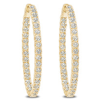 Solana CZ Rounds Oval Shaped Earring Hoops, 6.0 Carats Total