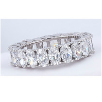Sale - Oval Cubic Zirconia Prong Set Eternity Band, 5.25 Ct TW