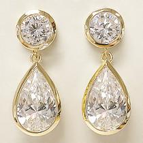 Sale - Ayla Wide Bezel Round with Pear CZ Drop Earrings, 11.0 Ct TW