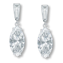 Sale - Bijou Marquise with Baguette CZ Drop Earrings, 5.35 Ct TW