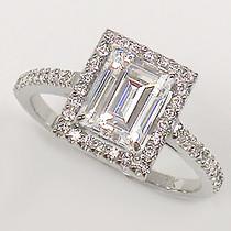 Sale - Esmé Emerald Cut CZ Halo Solitaire Ring