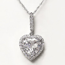 Sale - Coralie Heart with Pave Halo CZ Pendant, 2.14 Ct TW