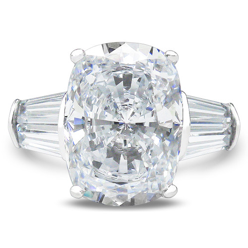 Elongated Cushion Cut Double Baguette Solitaire Engagement Ring Mystique of