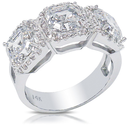Avalon Three Stone Asscher Halo Designer CZ Ring, 4.05 Carats TW