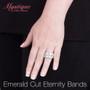 Emerald Cut Classic Prong Set Cubic Zirconia Eternity Band