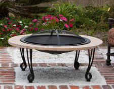 Fire Sense Well Traveled Living Cast Iron Rim Stone Finish Fire Pit