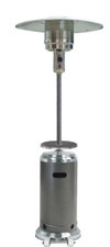 """TFPS Patio Heaters 87"""" Two Toned Stainless Steel Hammered Silver Patio Heater with Table - TFPS-HLDS01-SSHST"""
