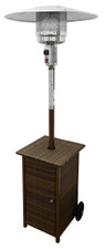 "TFPS Patio Heaters 87"" Tall Outdoor Square Resin Wicker Patio Heater with Table- TFPS-HLDS01-WHSQ"
