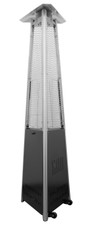 "TFPS Patio Heaters 94"" Tall Commercial Triangle Glass Tube Heater-Matte Black Patio Heater - TFPS-HLDS01-CGTPC"