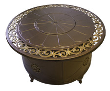 TFPS Round Cast Aluminum Decorative Bronze Fire Pit Table - TFPS-F-1201-FPT