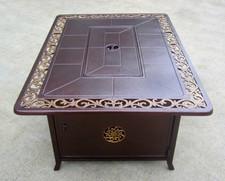 TFPS Rectangle Cast Aluminum Decorative Scroll Design Fire Pit Table - TFPS-FS-1212-T-10