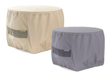 Round Fire Pit Cover - Durable Khaki or Charcoal - 30 inches x 18 inches