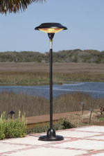 Fire Sense Well Traveled Living Hammer Tone Bronze Floor Standing Round Halogen Patio Heater