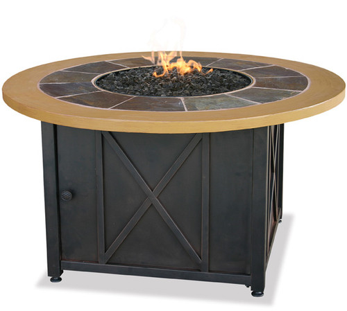 Blue Rhino Uniflame LP Propane Gas Fire Pit Table With Round Slate & Faux Wood Mante