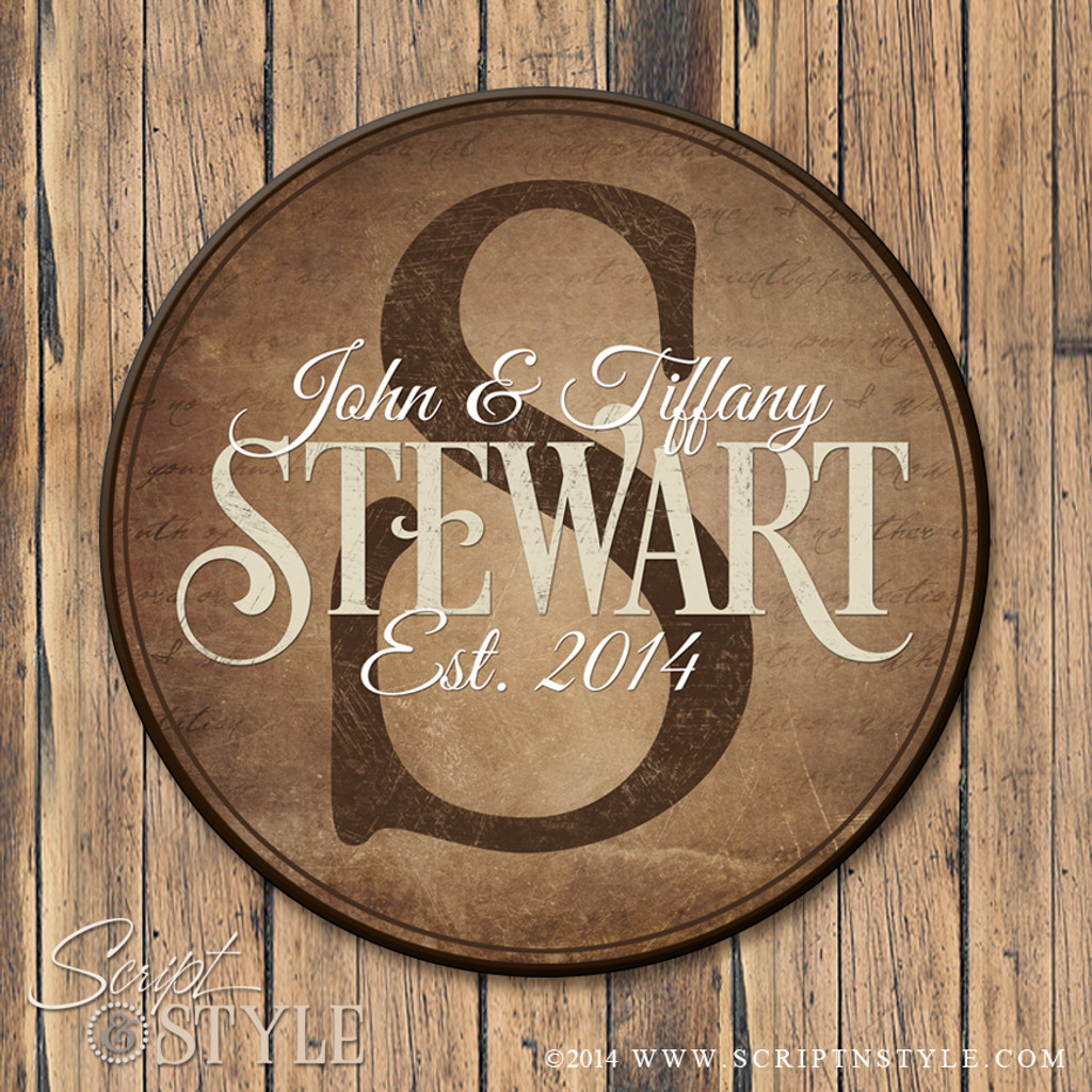 Round personalized family established sign/Brown