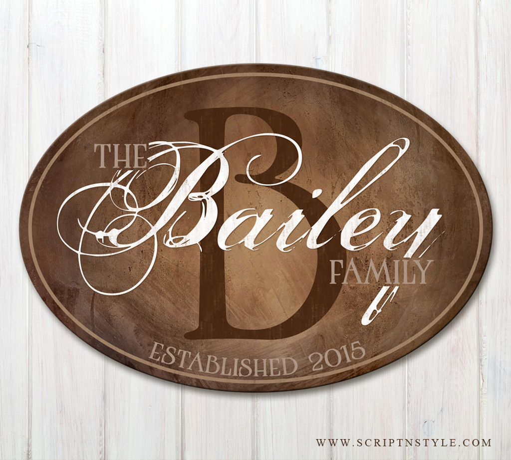 Oval personalized name sign
