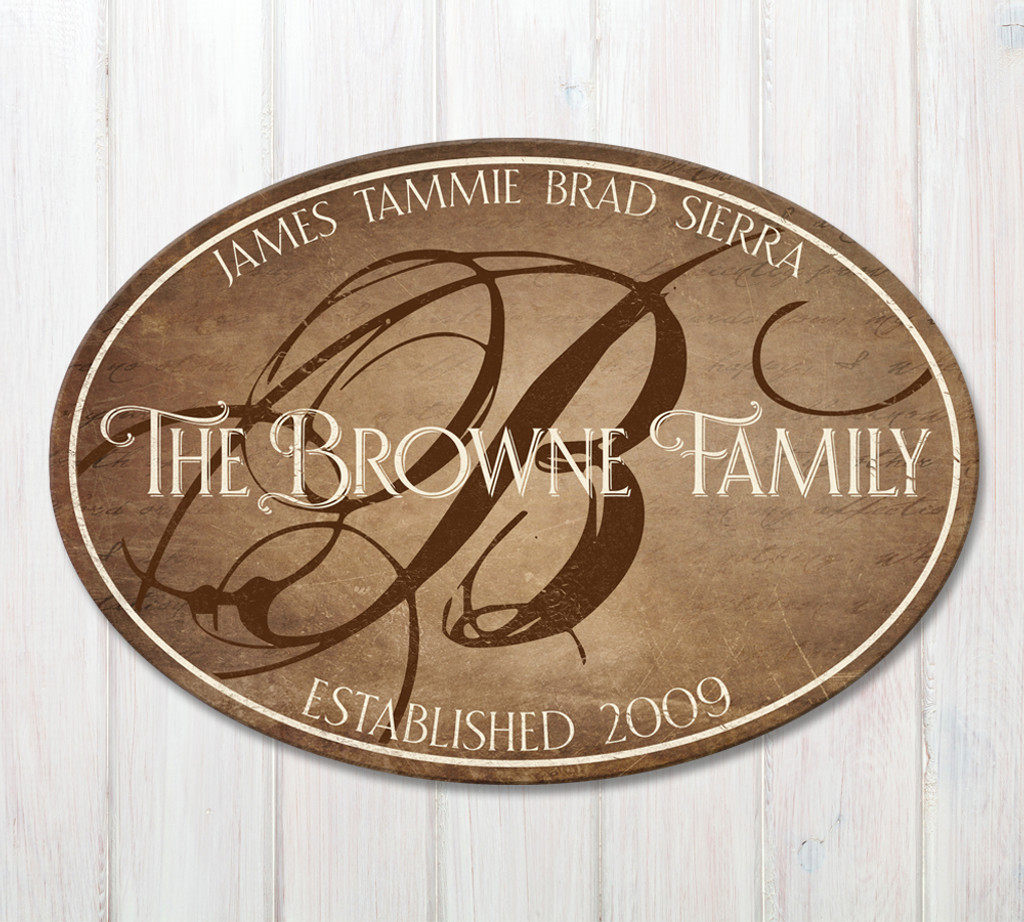 oval wood family established sign