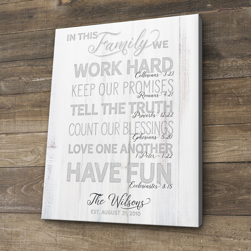 family rules wooden sign