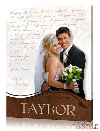 Personalized wedding vow wall art