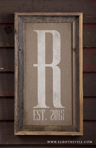 burlap monogram sign