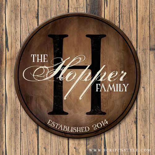 wood family established sign