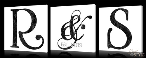3 piece monogram canvas set