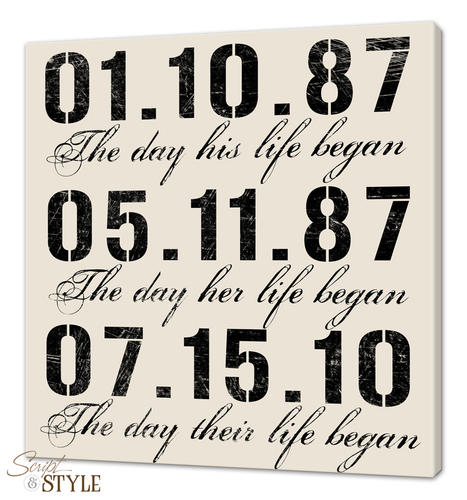 Special dates canvas wall art