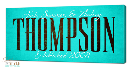 Personalized family established canvas, Aqua