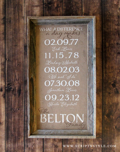 Personalized special dates burlap sign