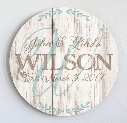 rustic wood established sign