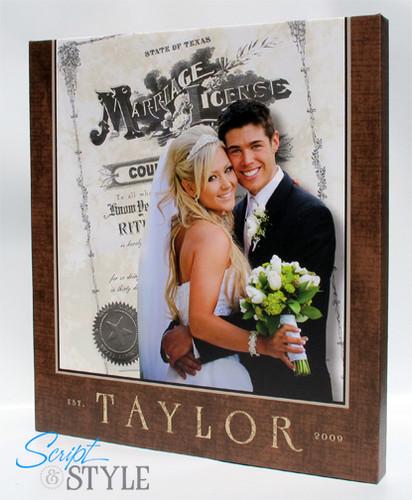 Wedding photo & marriage license canvas print wall art